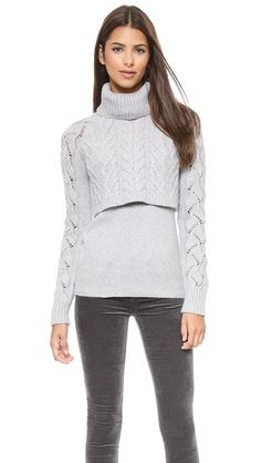 Elizabeth and James Layered Cable Turtleneck