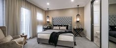 BEDROOM - Bayview with Beachside Façade on display at Batemans Bay Custom Home Designs, Custom Homes, Porch Area, New Home Builders, Al Fresco Dining, Home Bedroom, Bedrooms, Master Suite, Interior Styling