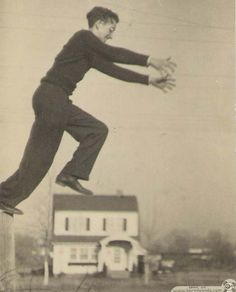 Bob jumping over Adgate's house in 1930's!!