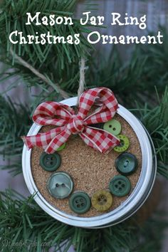 Mason Jar Ring Christmas Wreath Ornament - Simple DIY ornament that would also look great as a package tie on. Good way to use old buttons.