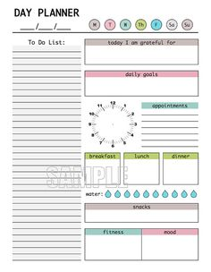 Day Planner Printable, Editable Daily Planner, Weekly Planner, DIY Planner // Also something to manually write on Cornell paper. To Do Planner, Weekly Planner, Life Planner, Happy Planner, Planner Diy, Day Planner Organization, Daily Planner Pages, Project Planner, Planner Layout