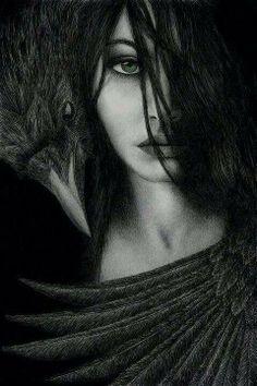 The Goddess Morrigan and Crow Foto Fantasy, Dark Fantasy, Fantasy Art, Fantasy Women, Yennefer Of Vengerberg, Gothic Art, Dark Gothic, Dark Beauty, Dark Art