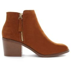 Forever 21 Women's  Zipped Faux Suede Booties ($35) ❤ liked on Polyvore featuring shoes, boots, ankle booties, ankle boots, zipper boots, platform ankle boots, platform ankle booties and mid heel ankle boots