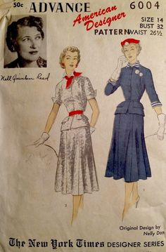 0d1a1d6f26e 1950 s Vintage Designer Dress NELLY DON Advance Sewing Pattern  6004 Modern  Sewing Patterns