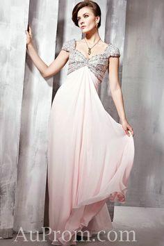 Chiffon Sequin Empire Pink Bridesmaids Dress
