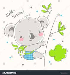 Cute koala baby cartoon hand drawn vector illustration. Can be used for baby t-shirt print, fashion print design, kids wear, baby shower celebration greeting and invitation card.