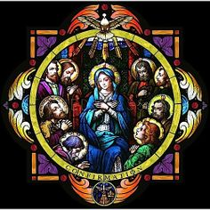 The Holy Spirit anoints Mary and Christ's disciples in this beautifully colored rose stained glass window panel.