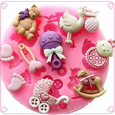 Baby Shower Silicone Fondant Cake Mold Chocolate Baking Sugarcraft Decor Mould in Home & Garden,Kitchen, Dining & Bar,Cake, Candy & Pastry Tools Bolo Fondant, Fondant Molds, Fondant Cakes, Fondant Baby, Cake Decorating With Fondant, Cake Decorating Tools, Decorating Supplies, Cake Icing, Cake Mold