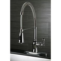 American Classic Modern Chrome Spiral Pull-down Kitchen Faucet (American Classic Single Lever Modern Spiral Chrome Pull-Out Kitchen Faucet), Grey, Pull Out Faucet, Pull Out Kitchen Faucet, Kitchen Handles, Kitchen And Bath, Kitchen Hardware, Home Design, Modern Design, Design Ideas, Interior Design