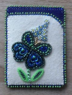 Beaded card case on Melton w/Seed Beads, Banding, and Gems by Carmen Dennis (Tahltan)
