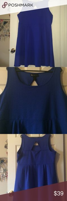 Lane Bryant royal blue stretch dress Lane Bryant total blue dress with cute key hole cute in back. 100% polyester and flattering. Worn with wedges or boots for fall  Lane Bryant Dresses Midi