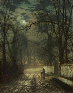 John Atkinson Grimshaw - A Moonlit Lane [1874]