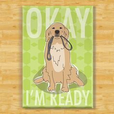 Golden Retriever Dog Breed Magnet  Ready with Leash by PopDoggie, $5.99