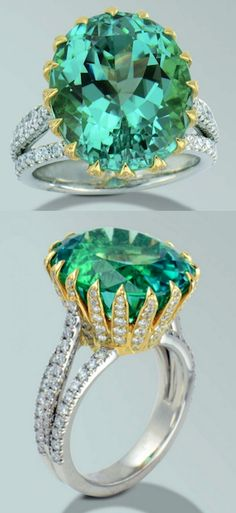 Electric green tourmaline, Platinum and 18 karat yellow gold ring with one oval, Sea foam Green Tourmaline and diamonds. Tourmaline weighing 15.80 carats and 166 round brilliant cut diamonds weighing 1.49 carats.