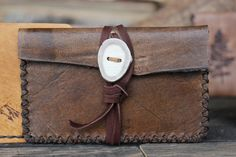 Rustic Card Holder:Mountain Wallet with Antler button by Willow Creek Leather Co.