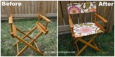 diy director s chair canvas, outdoor furniture, outdoor living, painted furniture, Here s the before and after
