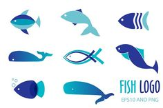 Fish logo or icon set by mcherevan on @creativemarket