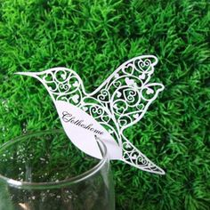 100 Humming Bird Name Place Card FOR Wine Glass Card Wedding Bomboniere Favors | eBay