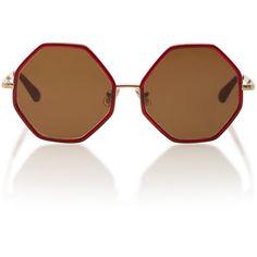 Large Octagon Sunglasses   Moda Operandi ❤ liked on Polyvore featuring accessories, eyewear, sunglasses, metal sunglasses, oversized glasses, over sized sunglasses, lens glasses and metal glasses