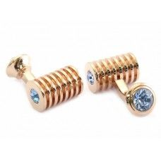 Rose Gold Light Sapphire Swarovski Double Cufflinks Light Blue