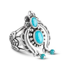 American West Sterling Silver Sleeping Beauty Dangle Ring