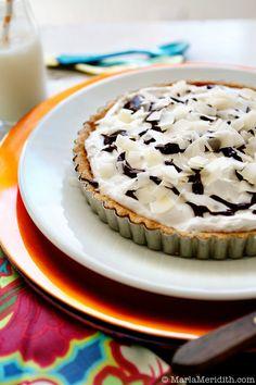 Coconut Cream Pie with Chocolate Ganache | Recipe on FamilyFreshCooking.com © MarlaMeridith.com #vegan #glutenfree #Paleo