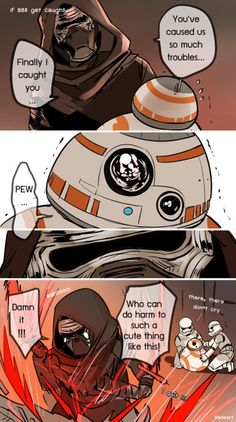 Even Kylo Ren is not immune to BB8's cuteness :3