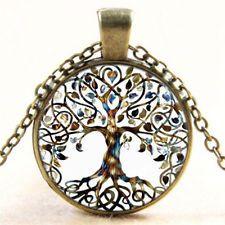 Nouveau Vintage vie Arbre cabochon de verre Pendentif Bronze Chain Collier Femme