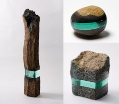 Splitting his time between Kanagawa, Japan and Dusseldorf, Germany, artist Ramon Todo (previously) is known for his small sculptures of rocks and books embedded with polished layers of glass.