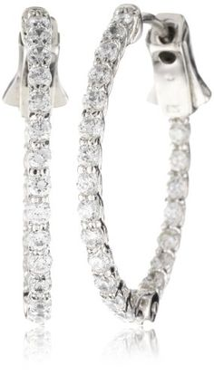 """CZ by Kenneth Jay Lane """"Classic CZ"""" Single Row CZ In And Out"""