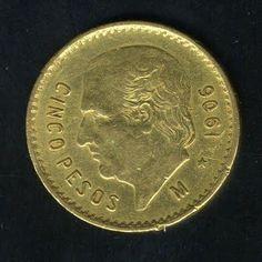 Mexican 5 pesos gold bullion coin of 1906.