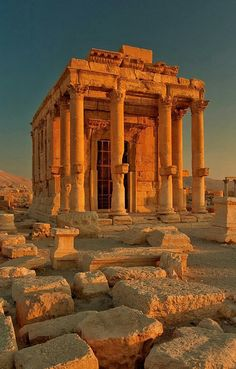 Palmyra, Syria July 2006 Temple of Baal-Shamin Temple of Baal-Shamin, the Lord of the Heavens in Semitic pantheon, responsible for rain and fecundity. Temple was dated ca. AD 17 and its cella dated AD It was completelly restored in by Swiss archeologists. Beautiful Places To Travel, Cool Places To Visit, Places To Go, Ancient Ruins, Ancient Greece, Architecture Romaine, Places Around The World, Around The Worlds, Palmyra Syria