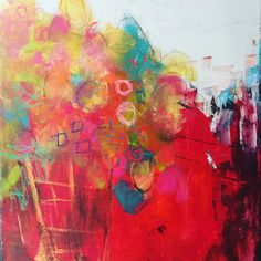 Abstract flowers painted on canvas