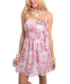 This Pink & White Shirred-Bodice Strapless Dress by Buy in America is perfect! #zulilyfinds
