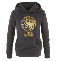 Comedy Shirts - Game of Thrones - FIRE AND BLOOD - Damen Hoodie - Schwarz / Gold Gr. M