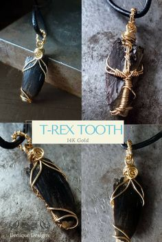 This is a rare fossilized partial T-rex (Tyrannosaurus) tooth intricately wrapped in 14k yellow gold filled wire.   The coloration of the tooth is black with a patch of brown toward the tip. The fossil is fragmented along the back, showing a lighter color and clear layering. It was found in the Judith River Formation in Montana and is approximately 67 million years old  Measurements 1.25X.75X.25