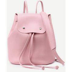 Pink Faux Leather Drawstring Flap Backpack With Clutch (€17) ❤ liked on Polyvore featuring bags, backpacks, pink, faux leather drawstring backpack, day pack backpack, pink backpack, studded backpack and pink drawstring bag