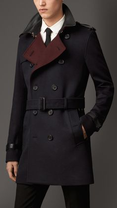 Lambskin Detail Virgin Wool Cashmere Trench Coat, Navy, by Burberry