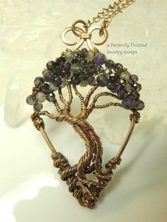 Wire Wrapped Mystic Tree of Life Pendant, Amethyst & Labradorite Gemstone Canopy, Antiqued Copper Handmade Perfectly Twisted Jewelry