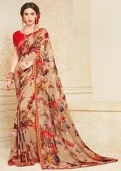 Light Coffee Color Georgette Party Wear Sarees : Mankit Collection YF-64652 Floral Print Sarees, Printed Sarees, Floral Prints, Coffee Colour, Party Wear Sarees, Sari, How To Wear, Color, Collection