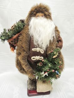 """Woodland Santa Standing 16""""  Brown Faux Fur Coat & Boots Holding Xmas Tree Gifts"""