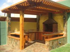 A Guide To Excellent Patio Barbecue Design - Homenbath Backyard Patio Designs, Pergola Patio, Pergola Kits, Pergola Ideas, Parrilla Exterior, Barbecue Design, Outdoor Oven, Patio Flooring, Modern Kitchen Cabinets