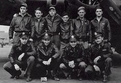 Lieutenant Michael with the crew of his Boeing B-17G Flying Fortress, 1943. Standing, left to right: SSGT Arthur Kosino, waist gunner; SSGT Pat Malone, tail gunner; SSGT Ray Ridge, flight engineer/top turret gunner; SSGT Anthony Russo, waist gunner; SSGT Fred Wilkins, ball turret gunner; SSGT Reynold Evans, radio operator/top gunner. Kneeling, left to right: 2LT Franklin Westberg, co-pilot; 2LT Sid Miller, navigator; 2LT John Lieber, bombardier; 1LT Edward S. Michael, pilot/aircraft…