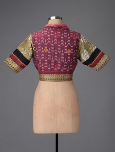 Ochre-Pink Hand-painted Kalamkari Ikat Cotton Blouse with Embroidery