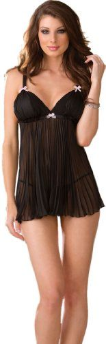 Our Feminine Lingerie Black Babydoll Set features a pleated chiffon babydoll with bow trim, layered cup and matching thong.