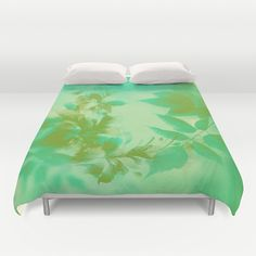 Misty Green and Gold Floral Leaf Abstract Duvet Cover by Judy Palkimas - $99.00