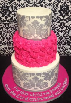 Grey damask and hot pink rosette baby shower cake