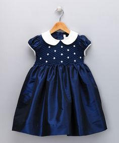 Take a look at this Navy & Ivory Daisy Smocked Dress - Infant, Toddler & Girls by Fantaisie Kids on today! Toddler Dress, Toddler Outfits, Baby Dress, Kids Outfits, Infant Toddler, Toddler Girls, Fashion Kids, Little Girl Fashion, Frocks For Girls