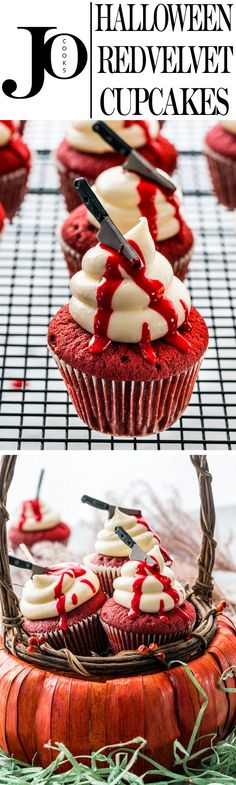 These bloody Red Velvet Cupcakes are perfect for Halloween. Traditional red velvet cupcakes, topped with a cream cheese frosting and decorated with a red icing for a bloody effect.