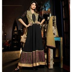 Beige and Black Long Designer Anarkali Suit-